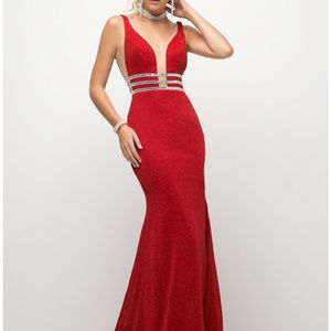 Red Illusion Neckline Evening Long Dress